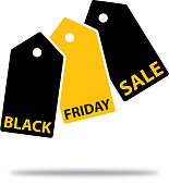 Vector illustration of a Cameroon flag with shadow on a sky blue background. Vector illustration of black and gold sales tags with Black Friday Sale text on them.