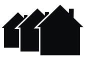 Three black houses, vector icon
