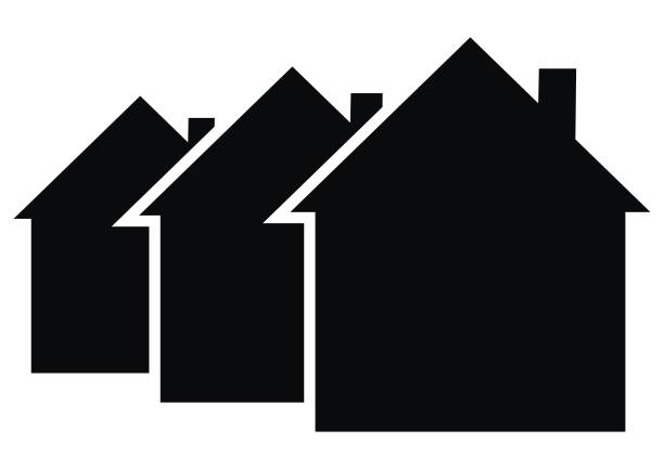 Three black houses, vector icon Three black houses, vector icon. Black silhouette of houses with smoke stacks. Business icon for housing construction. house stock illustrations