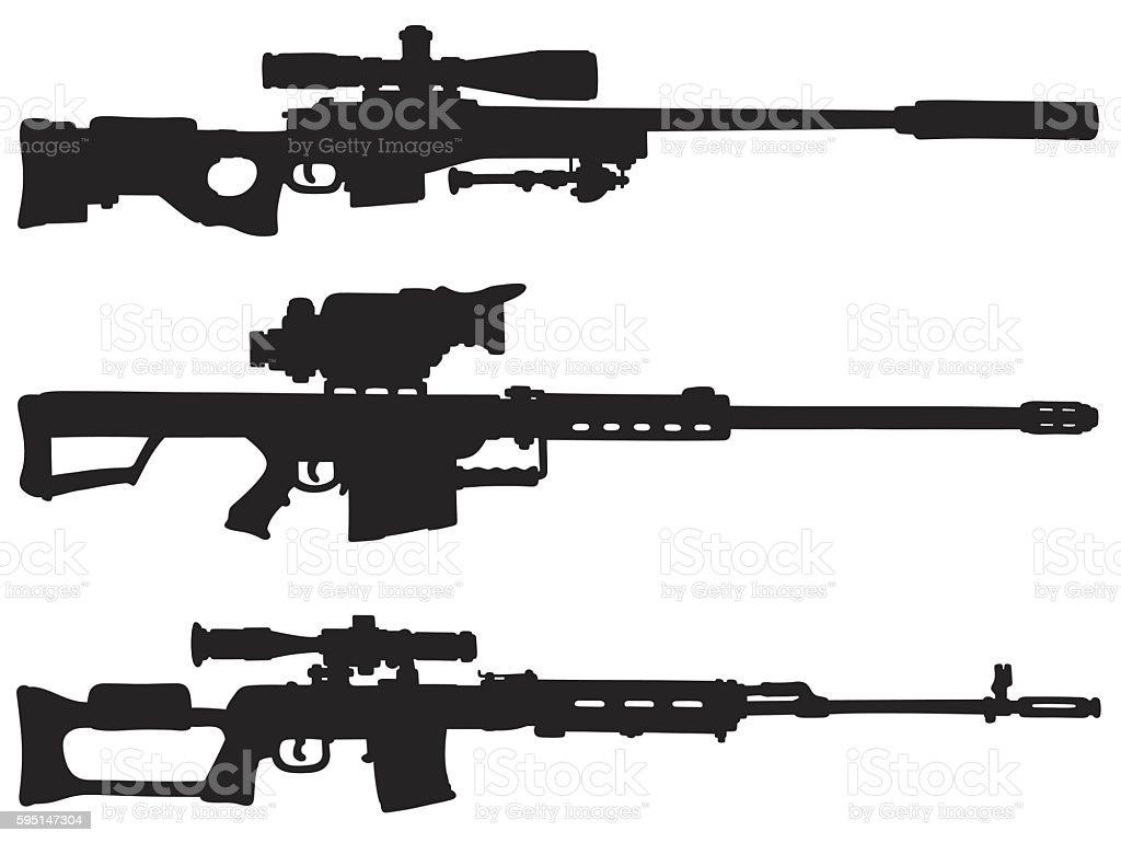 Three black sniper rifles vector art illustration