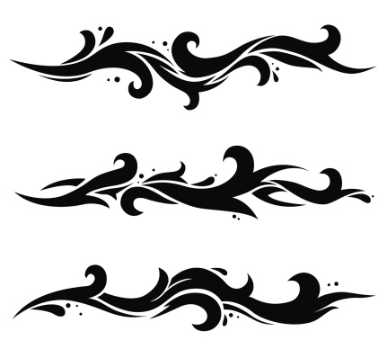 Three black waves