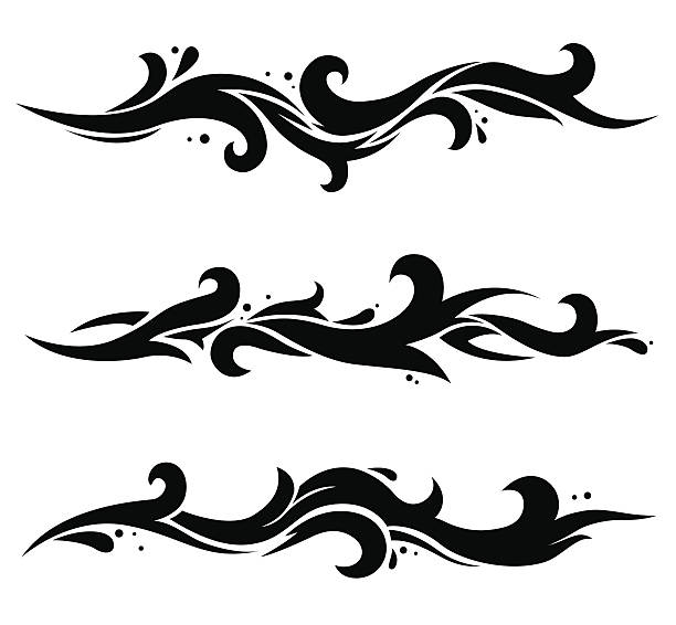 three black waves - tribal tattoos stock illustrations, clip art, cartoons, & icons