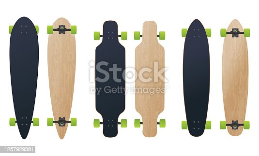 istock Three blank different longboard skateboard model vector illustration 1257929381