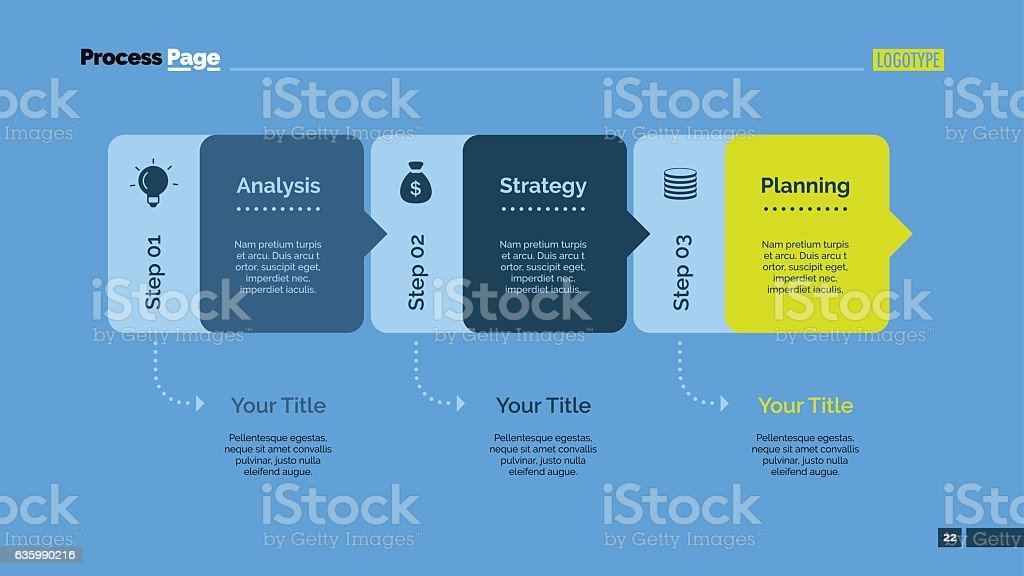 Three Blocks Diagram Slide Template vector art illustration