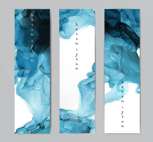 three blue banners with abstract alcohole ink painting on white background with place for your text. - alcohol drink backgrounds stock illustrations