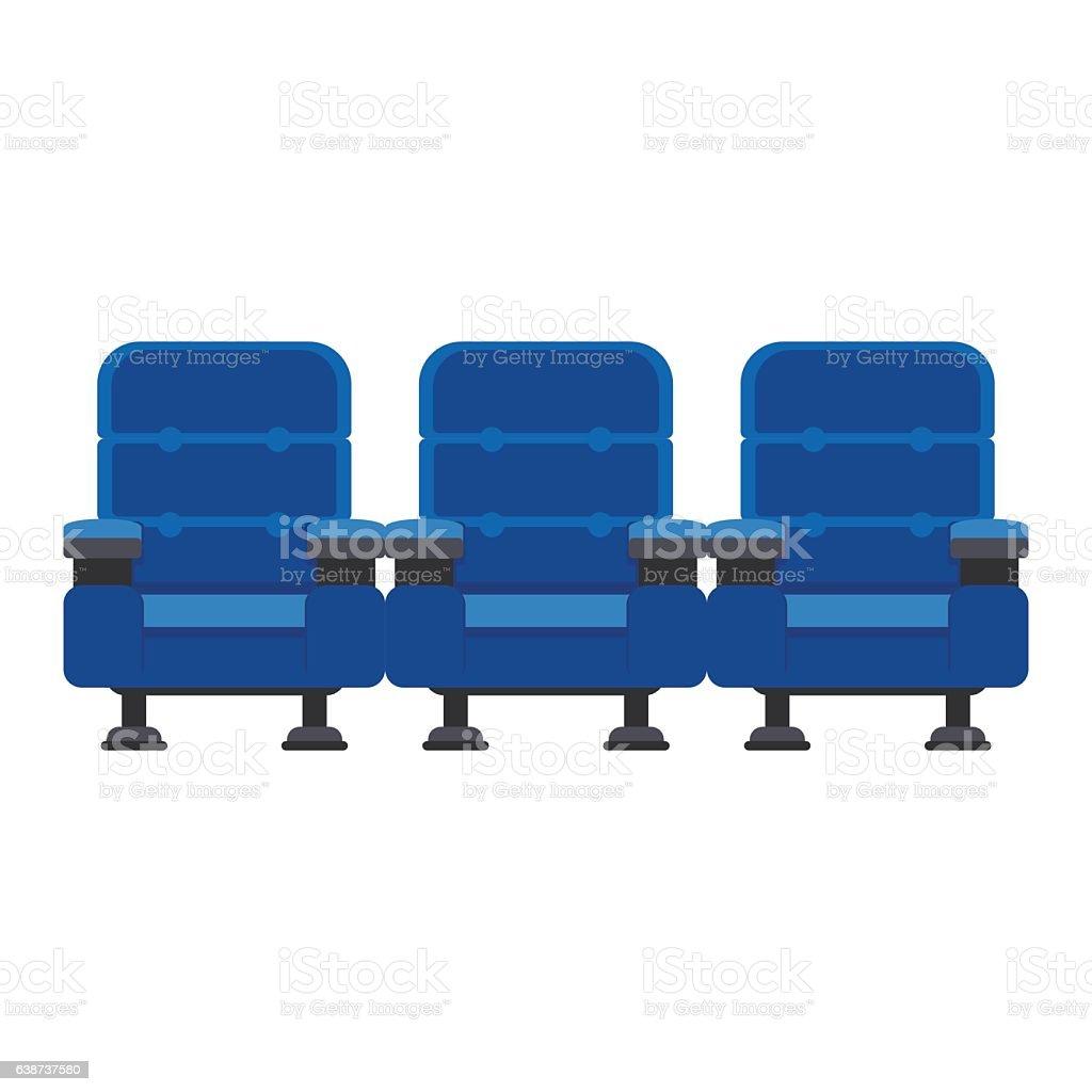 three blue chairs vector art illustration