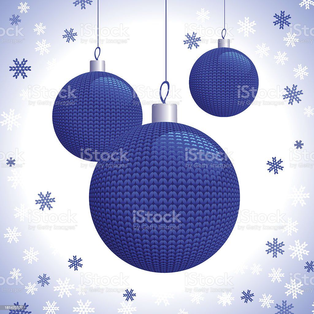 Three Blue Knitted Christmas Balls royalty-free stock vector art