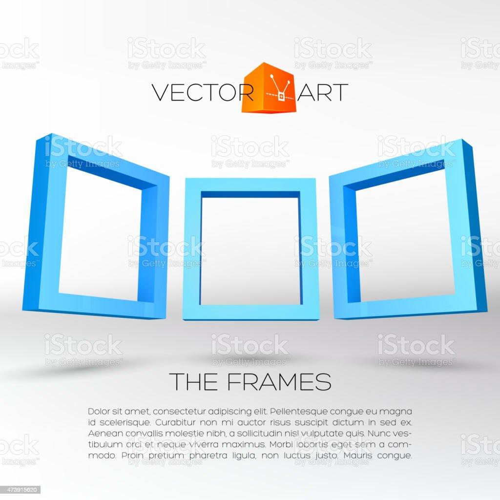 Three Blue Rectangular Frames stock vector art 473915620 | iStock