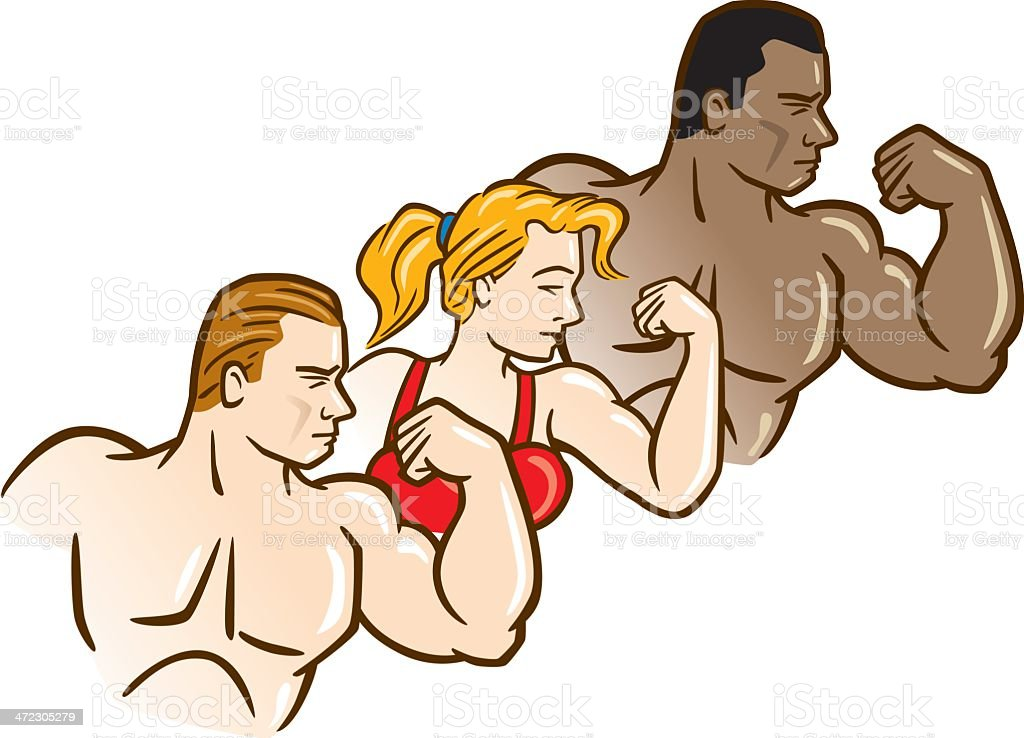 Three Bodybuilders vector art illustration