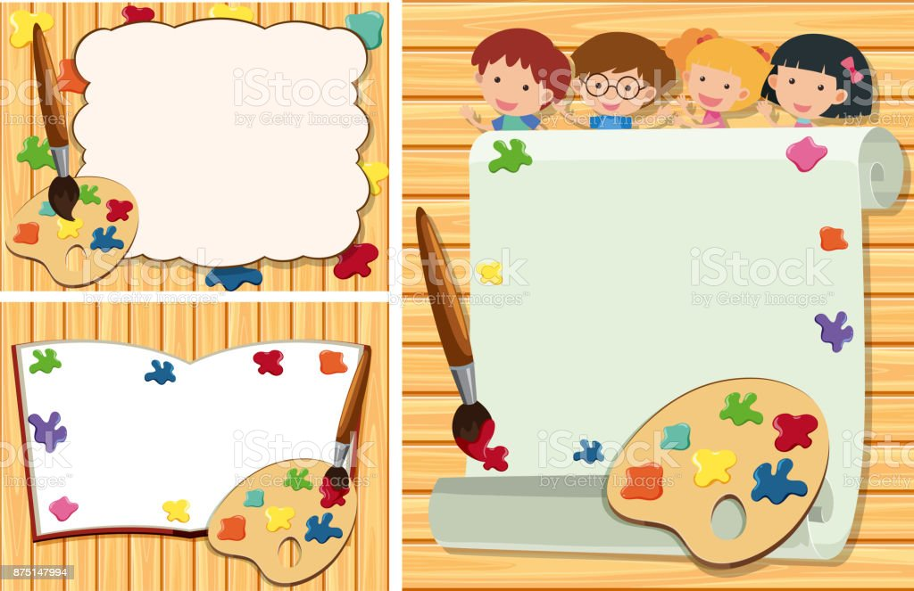 three border templates with kids and paint palette royalty free stock vector art - Art Templates For Kids