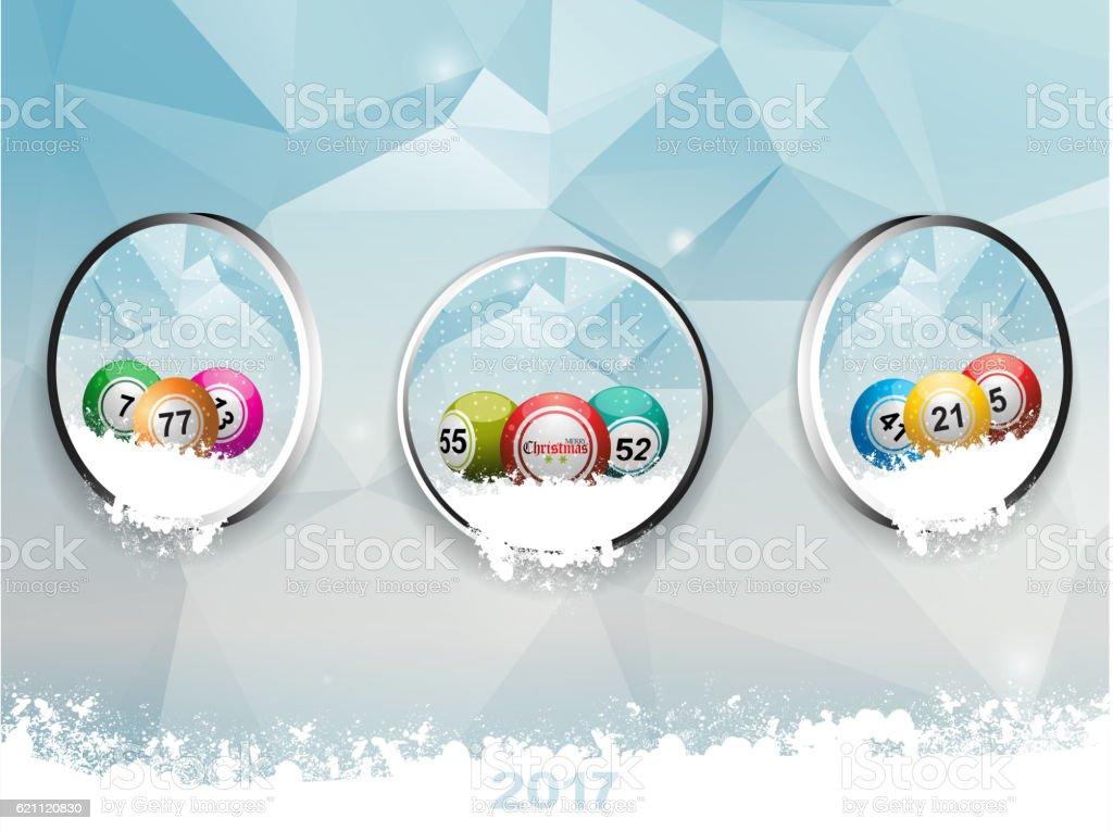 Three borders with Christmas bingo balls over ice and snow - ilustración de arte vectorial