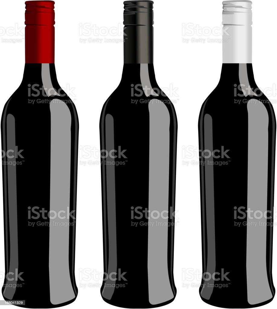Three bottles of wine  vector royalty-free stock vector art