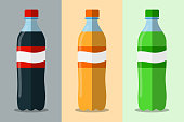 Three bottles with soda vector flat. Set of plastic bottle of water and sweet soda. Sweet water plastic bottle. Flat vector icon.