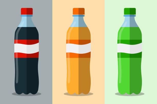 stockillustraties, clipart, cartoons en iconen met drie flessen met soda vector flat. het aantal plastic fles van water en zoete frisdrank. zoet water plastic fles. platte vector pictogram. - cola