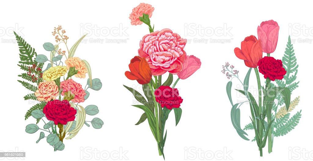 Ilustración de Tres Ramos Flores De Rojo Rosa Amarillo Y Verde ...