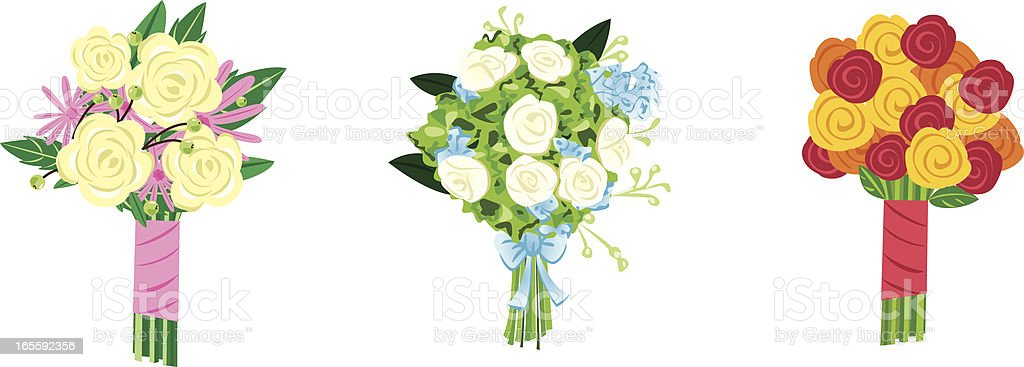 Three Bouquets vector art illustration