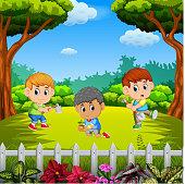 illustration of three boys learning gardening outdoors