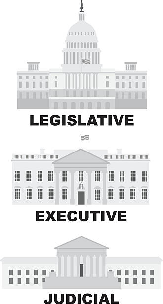 Three Branches of US Government Illustration Three Branches of United States Government Legislative Executive Judicial Buildings Grayscale Illustration government stock illustrations