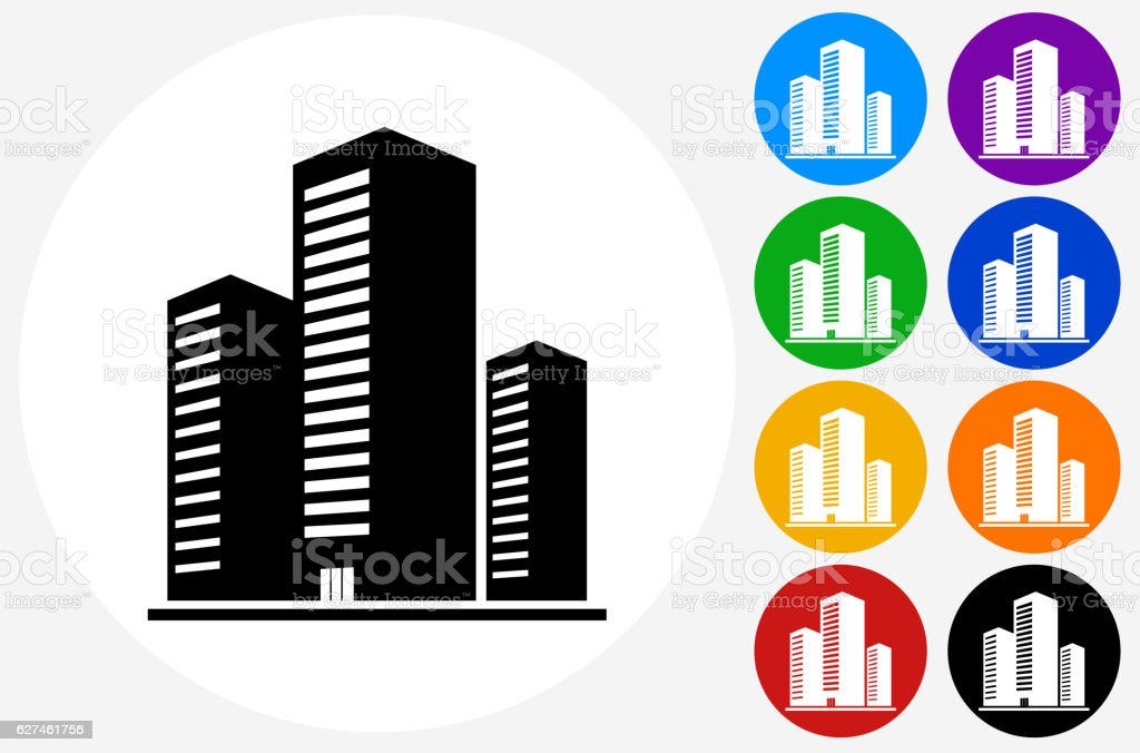 Three Buildings Icon on Flat Color Circle Buttons vector art illustration
