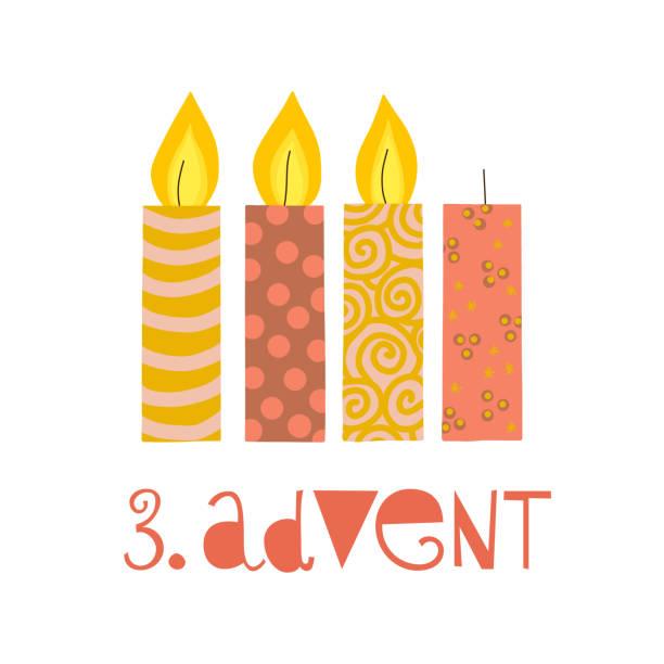 ilustraciones, imágenes clip art, dibujos animados e iconos de stock de tres velas de adviento ardiente vector ilustración - adviento