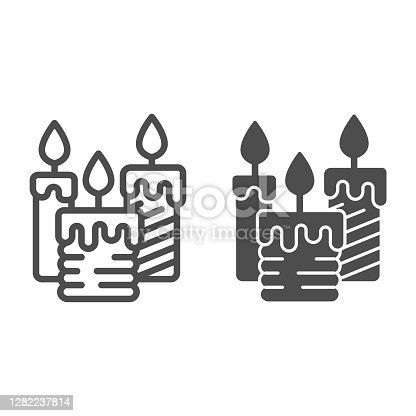 istock Three burning candles line and solid icon, illumination concept, candle sign on white background, wax candle icon in outline style for mobile concept and web design. Vector graphics. 1282237814