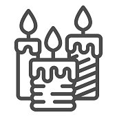 Three burning candles line icon, illumination concept, candle sign on white background, wax candle icon in outline style for mobile concept and web design. Vector graphics