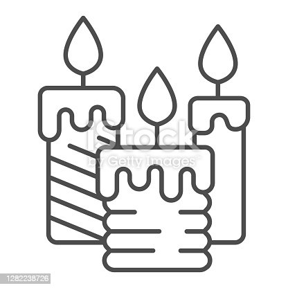 istock Three burning candles thin line icon, illumination concept, candle sign on white background, wax candle icon in outline style for mobile concept and web design. Vector graphics. 1282238726