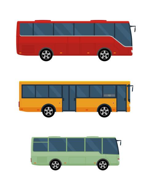 ilustraciones, imágenes clip art, dibujos animados e iconos de stock de tres autobuses aislados sobre fondo blanco. - autobús