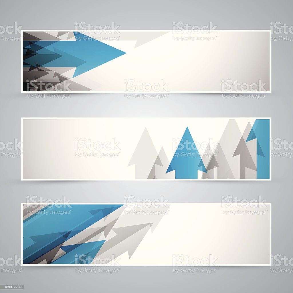 Three business banners of arrows royalty-free stock vector art