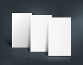 Stack of three white pages. Booklet, business card, postcard or flyer mockup template. Vector illustration.