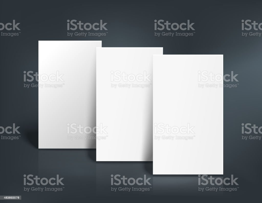 Three business cards mockup. Vector illustration vector art illustration