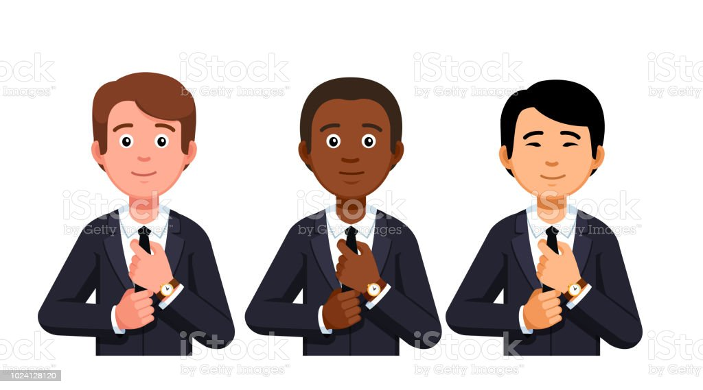Three business man fixing necktie portraits. Caucasian, African American and Asian. Diverse international team. Flat style vector clipart vector art illustration