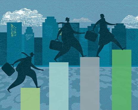 Tre Modelli Di Business Persona Competitiva Degli Obiettivi Di Crescita - Immagini vettoriali stock e altre immagini di 2015