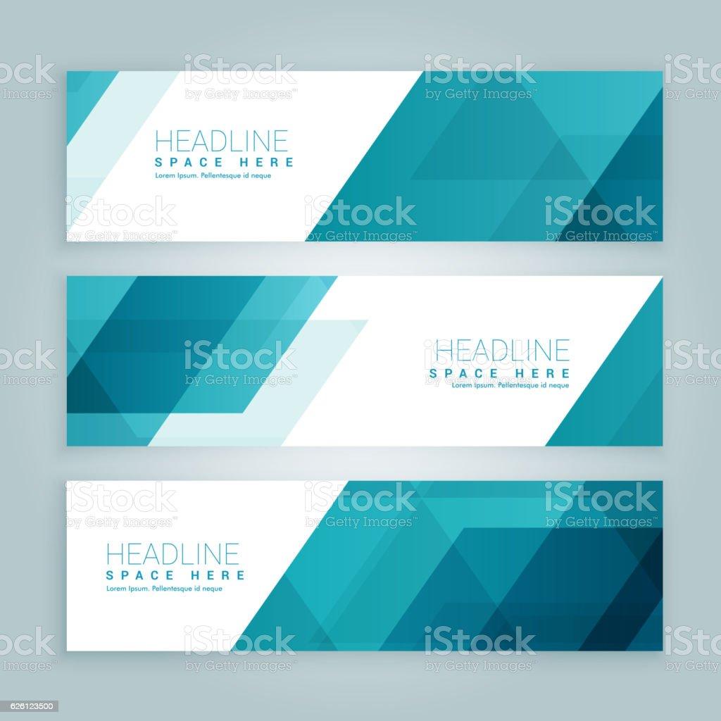 three business style set of web banners in blue color - ilustração de arte em vetor