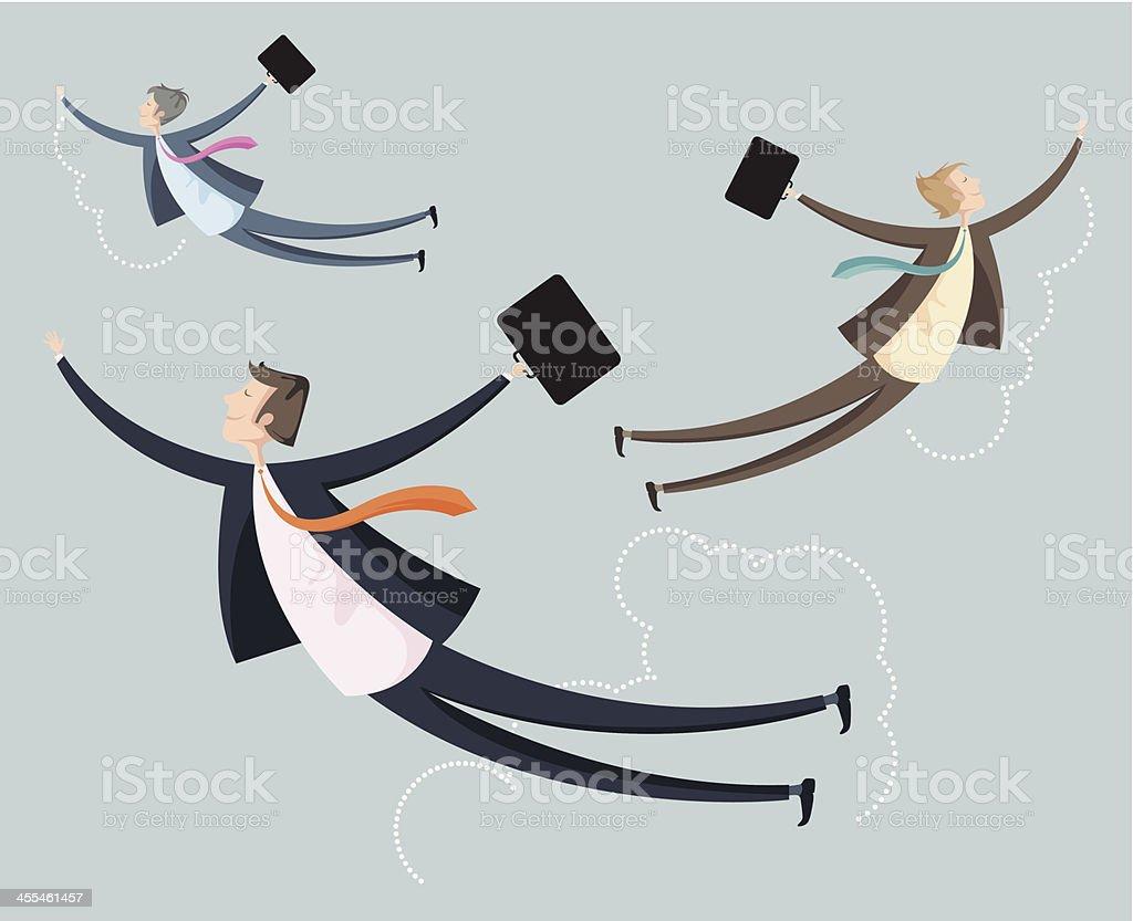 Trzy przedsiębiorców podróży w przestworzach. - Grafika wektorowa royalty-free (Aktówka)