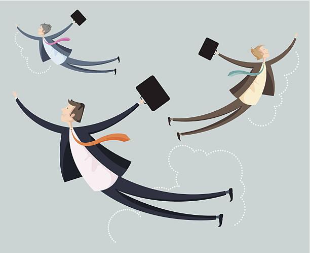 Trzy przedsiębiorców podróży w przestworzach. – artystyczna grafika wektorowa