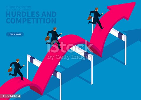 Three businessmen follow the red arrow and jump over the obstacle to run forward