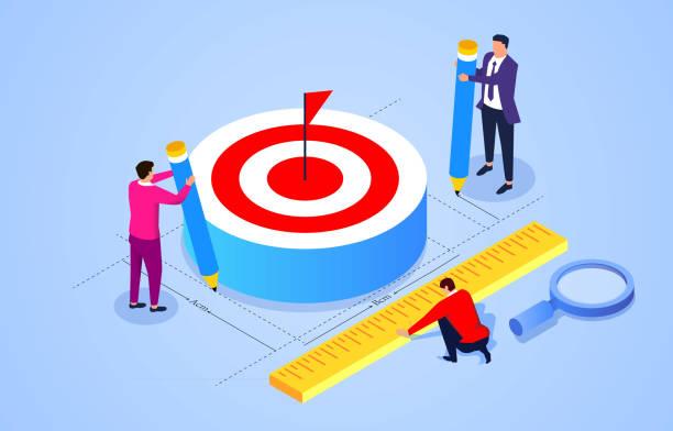 Drei Geschäftsleute halten Lineal und Bleistift, um die Größe des Ziels zu messen – Vektorgrafik