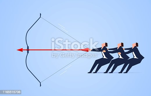 Three businessmen pull apart bows and arrows