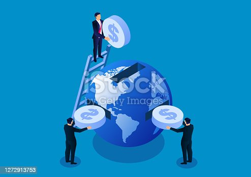 istock Three businessmen put gold coins into the earth, the concept of global financial trade and global business investment 1272913753