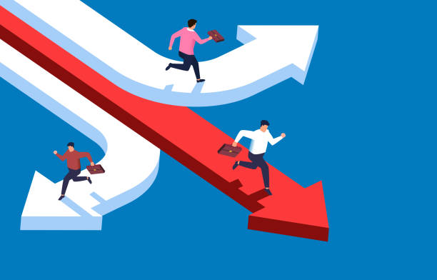 three businessmen running in different directions, different businesses, multiple opportunities - kontrast stock illustrations
