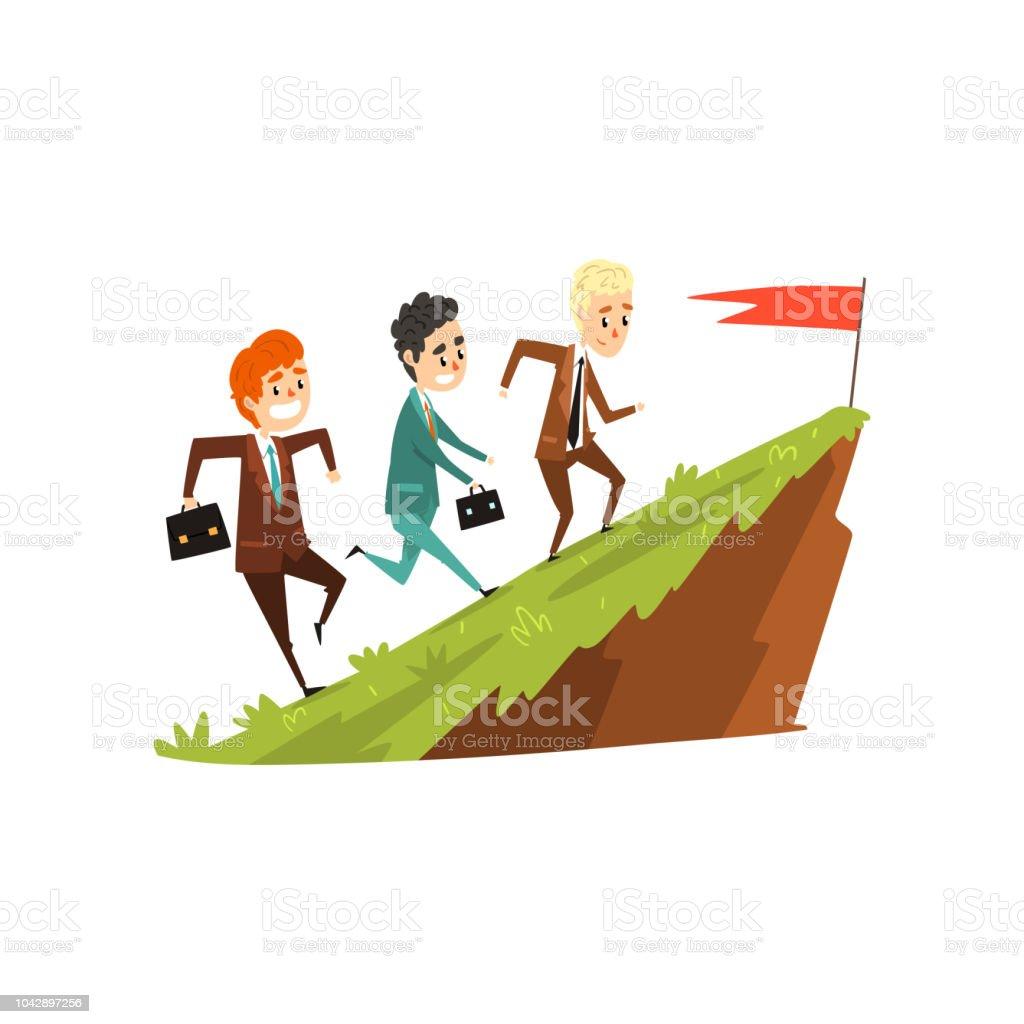 フラグ前方に動くリーダービジネスキャリア開発概念ベクトル イラスト