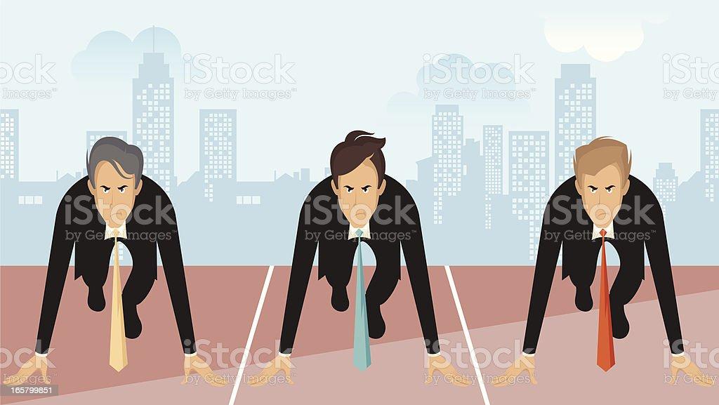 Three businessmen. vector art illustration