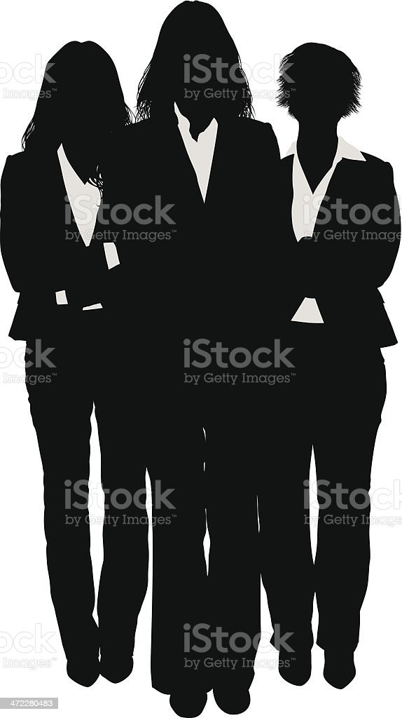 Three businesswomen silhouette vector art illustration