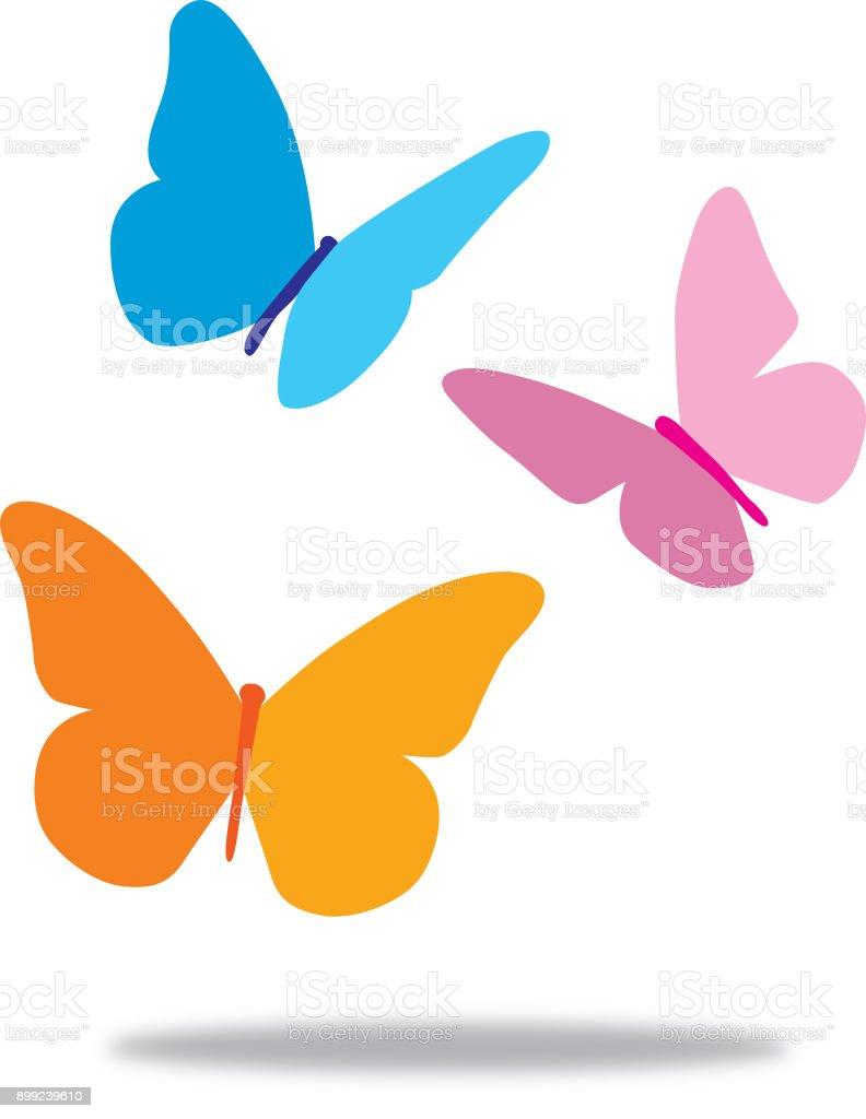 Three Butterflies vector art illustration