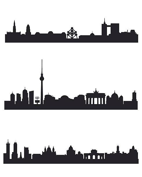 bildbanksillustrationer, clip art samt tecknat material och ikoner med three capitals silhouettes - berlin city