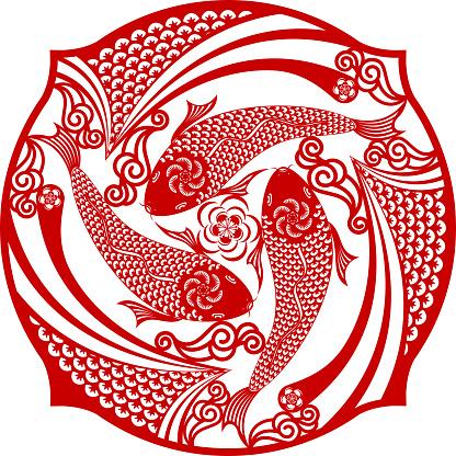Three Carp in a Circle Chinese Paper Cur Art Symbol