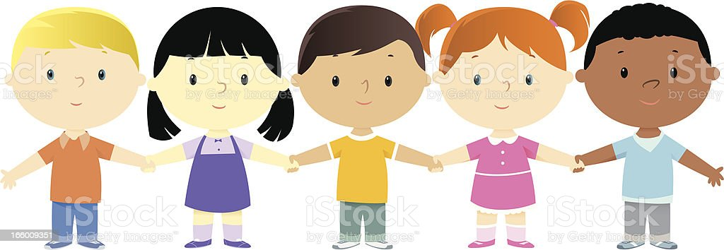 Three cartoon boy and two cartoon girl friends holding hands royalty-free stock vector art