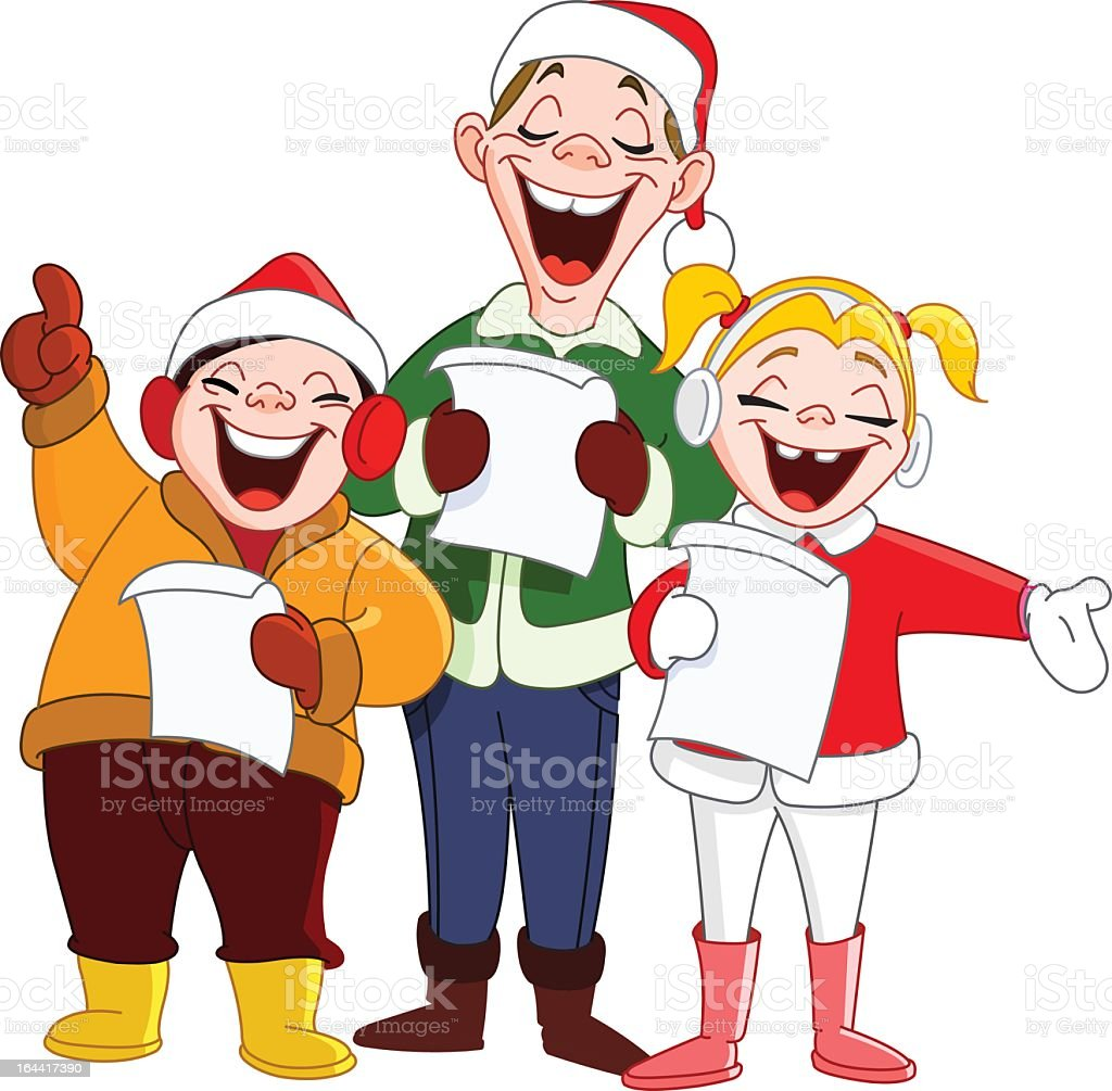 Three cartoon Christmas carolers vector art illustration