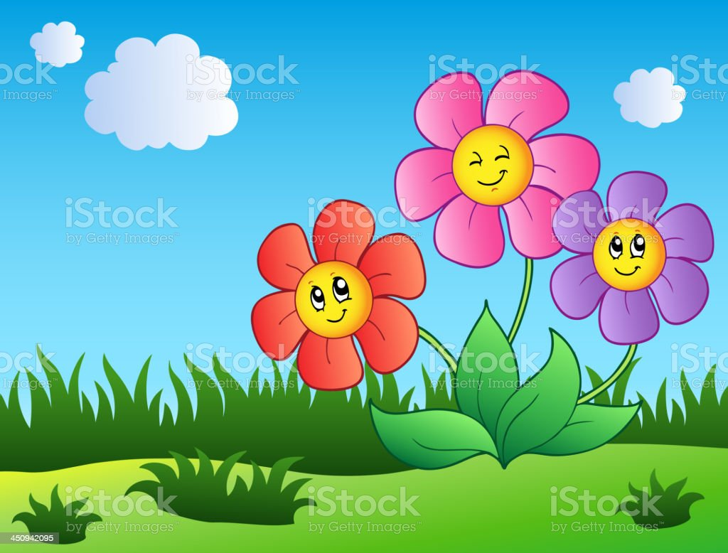 Three Cartoon Flowers On Meadow Stock Vector Art More Images Of